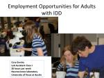 employment opportunities for adults with idd