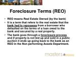 foreclosure terms reo