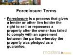 foreclosure terms