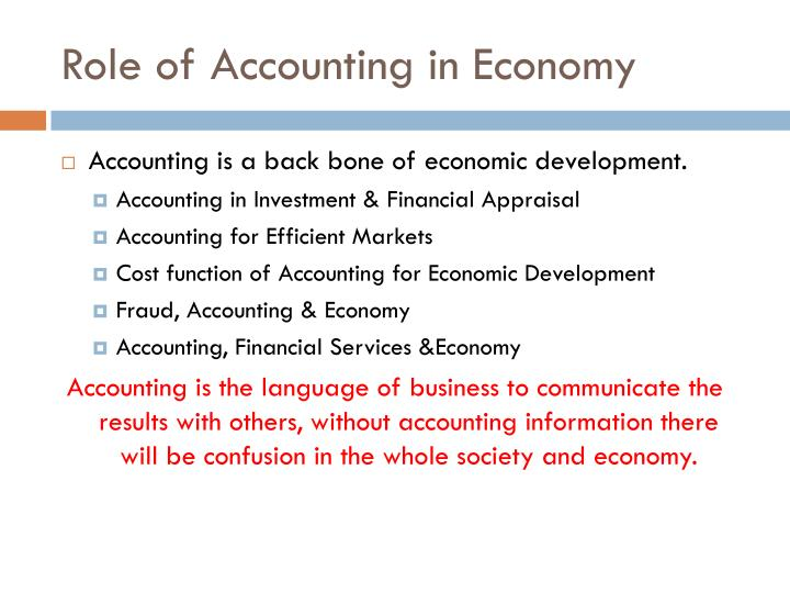the development of the role of accounting