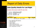 report of daily errors