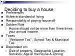 deciding to buy a house