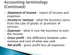 accounting terminology continued