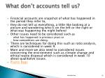 what don t accounts tell us