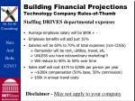 building financial projections technology company rules of thumb
