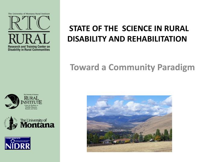 state of the science in rural disability and rehabilitation n.