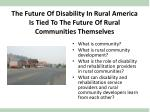 the future of disability in rural america is tied to the future of rural communities themselves