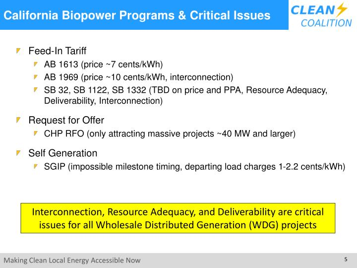 California Biopower Programs & Critical Issues