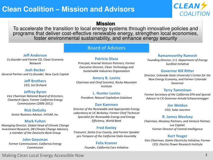 Clean coalition mission and advisors