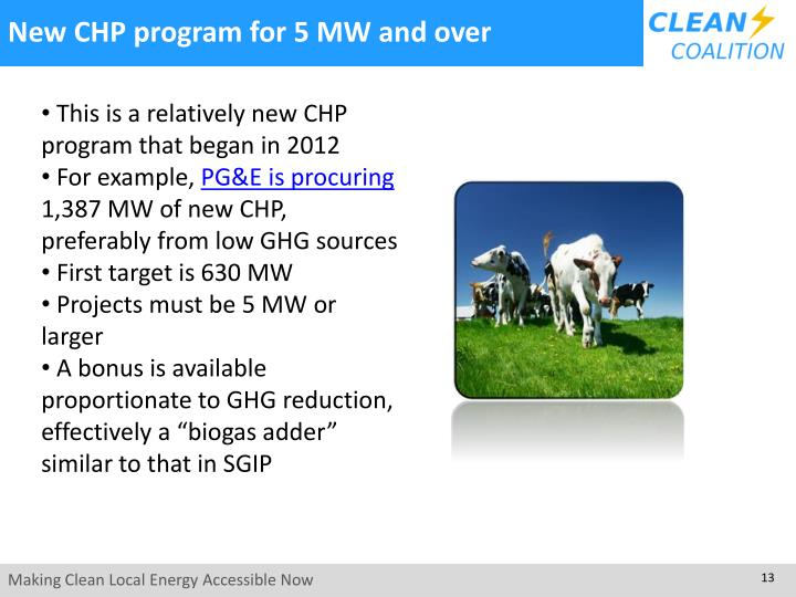 New CHP program for 5 MW and over