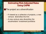 estimating risk adjusted rates using capm