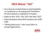 esea waiver 101