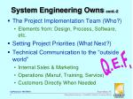 system engineering owns cont 2
