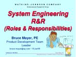 system engineering r r roles responsibilities