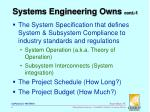 systems engineering owns cont 1