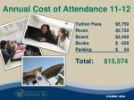 annual cost of attendance 11 12