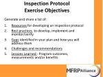 inspection protocol exercise objectives