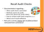 recall audit checks