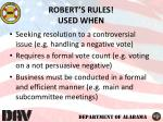 robert s rules used when