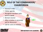 role of the commander chairperson