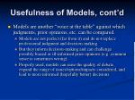 usefulness of models cont d2