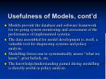 usefulness of models cont d3