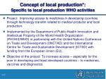 concept of local production specific to local production who activities