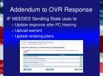 addendum to ovr response