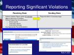 reporting significant violations