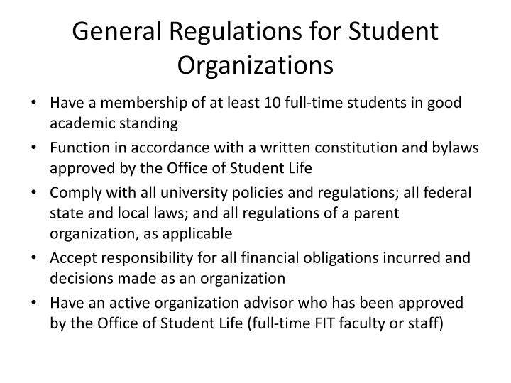 General regulations for student organizations