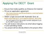 applying for dect grant