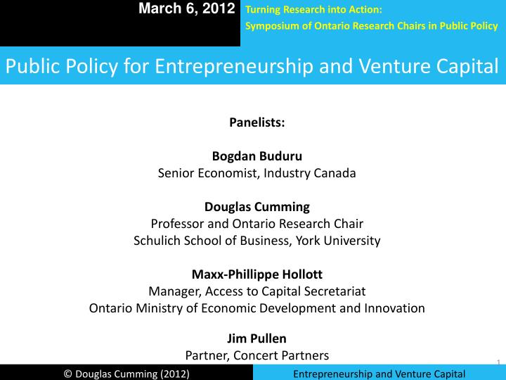 public policy for entrepreneurship and venture capital n.