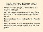 digging for the rosetta stone