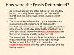 how were the feasts d etermined