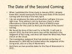 the date of the second coming
