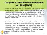 compliance to personal data protection act 2010 pdpa