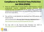 compliance to personal data protection act 2010 pdpa2