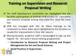 training on supervision and research proposal writing