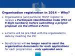 organisation registration in 2014 why