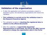 validation of the organisation