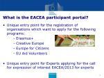 what is the eacea participant portal