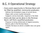 b g ii operational strategy