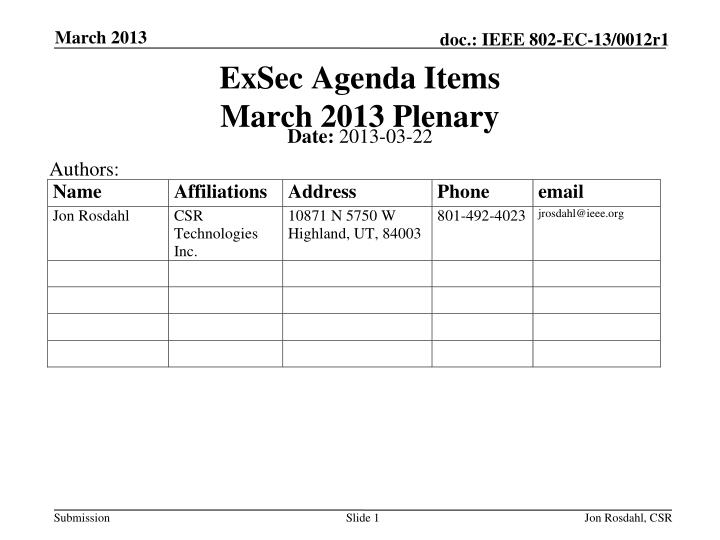 exsec agenda items march 2013 plenary n.