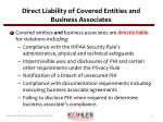 direct liability of covered entities and business associates