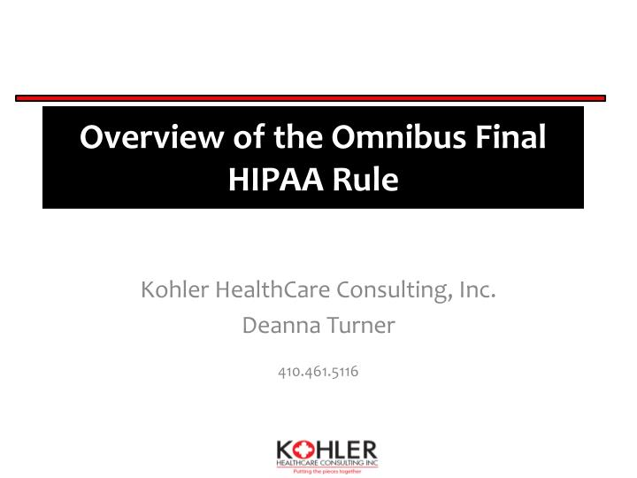 overview of the omnibus final hipaa rule n.