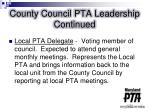 county council pta leadership continued