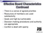 effective board characteristics continued