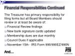 financial responsibilities continued