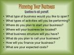 planning your business questions to ask yourself