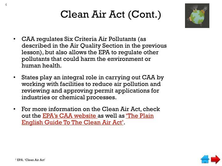 Clean Air Act (Cont.)
